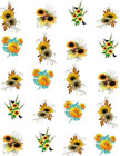 Sunflower Bouquets Waterslide Water Transfer Nail Decals Nail Art