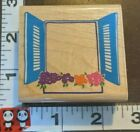 Window dressingwindow with blue shutters958posh impressionswoodrubber stamp