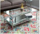 Modern Coffee Table Chrome Glass Mirrored Living Rm Cocktail Metal Glam Accent