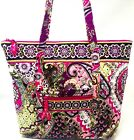 VERA BRADLEY Villager Tote In Very Berry Paisley Pink Green Retired