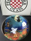 Peggy Karr Glass Halloween Bowl With Ghost Black Cat Pumpkins Witch Signed 11