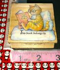 Puss in Boots book plate all night media cat reading006 woodenrubberstamp