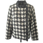 Vintage Ruffled Houndstooth Check Jacket Wool Blend Lined Grey Size Small