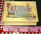 For Santa cat in bed all night media hard to find 005 woodenrubberstamp