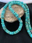 Native American Blue Turquoise Heishi Sterling Silver Bead Necklace Rare 2708