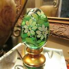 BEAUTIFUL RARE GREEN  GOLD FENTON EGG SIGNED  HAND PAINTED NUMBERED