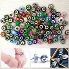 100x Large Hole Glass Spacer Beads Kit Charms Bracelets Necklace Jewelry Making