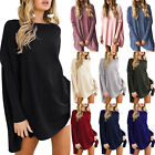 Womens Batwing Sleeve Jumper Mini Dress Solid Loose Ladies Casual T