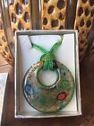 Hand Blown Murano Art Glass Pendant Necklace Italy Circle Disc Silver Green 2