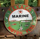 VINTAGE TEXACO MARINE MOTOR OIL PORCELAIN SIGN SERVICE STATION GASOLINE SIGN