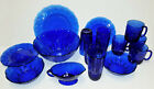 Royal Sapphire Cobalt Blue glass plates tumbler mug salad serving Bowls avon