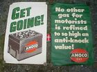 TWO VINTAGE 1950's AMOCO GAS STATION WINDOW PAPER SIGNS 44'' X 27-1/2''