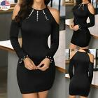 Women Sexy Cold Shoulder Mini Dress Ladies Long Sleeve Beaded Bodycon Dresses