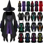 Halloween Women Medieval Gothic Witch Dress Lace Up Renaissance Cosplay Costume