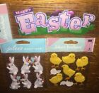 Lot Of 3 Jolees Happy Easter Title Bunnies Chicks Fluffy Carrots Bunny Stickers