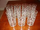 Seven J JAMES Signed Etched Highball Glasses - Vintage - about 5 1/2