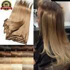 CLEARANCE Clip In 100 Real Remy Human Hair Extensions Full Head Highlight US Ss