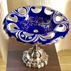 Antique Bohemian Moser Cobalt Blue Clear w Gold Sandwich Glass Bowl Silver Tazza