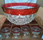 Vtg BEAUTIFUL Whitehall Diamond Point Ruby Red Flash Punch Bowl w/12 Cups in Box