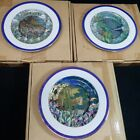 Tiffany style STAINED GLASS GARDENS Limited Edition Set of 3 Collector Plates