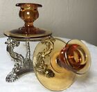 Pair Mid Century AMBER GLASS Taper Candlesticks Candle Holders VINTAGE MINT Rare
