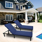 2PC Adjustable Pool Chaise Lounge Chair Outdoor Patio Furniture Wicker W Cushion