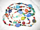 High Quality Vintage Handmade Multi Colored Art Glass  Stone Bead Necklace