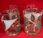 Vintage Culver Christmas Holly Leaf Berries Set/4 Cocktail Glasses NIB Signed