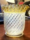 RARE EARLY FENTON VASE or JAR FRENCH OPALESCENT SPIRAL OPTIC FLUTED AMBER CREST
