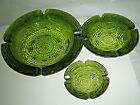 VTG Retro ANCHOR HOCKING SORENO Green Glass 3 Piece Ashtray Set