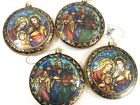 4 Ornaments Set Nativity 3 Kings Round Flat Glass With Stained Glass Back 4 NWT
