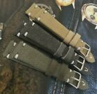 Italian Vintage Canvas watch strap H M 18 19 20 22 24 26mm Olive Blue Gray Tan