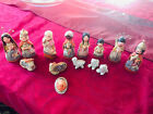 Vintage Mexican Pottery 5 Nativity Clay Handpainted Set of 14 Figures