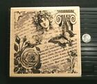 PAPER INSPIRATIONS P2401 Rose COLLAGE Rubber Stamp Woman Butterfly SCRIPT Column