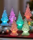 SET OF 6 Color Changing Table Christmas Trees Night Lights Dept 56 Lemax Village