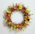Orange Yellow Pine Cones  Silk Flower 24 Grape Vine Wreath