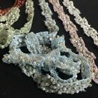 Beaded Trim Lace Embroidered Hand Beaded Sequined Organza Exquisite De LightBlue