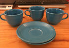 HARLEQUIN HOMER LAUGHLIN SET OF 3 CHINA TEA CUPS AND 2 SAUCERS VINTAGE FIESTA