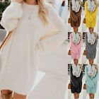 Womens Autumn Long Sleeve Knit Sweater Party Casual Plus Size Jumper Short Dress