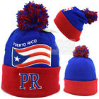 Puerto Rico Embroidery Flag New PR Pom Pom Men Women Royal Red  Winter Hats