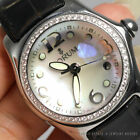 CORUM BUBBLE MOTHER OF PEARL DIAMOND ALLIGATOR STRAP STAINLESS STEEL WATCH
