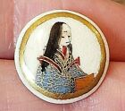 Antique Japanese Porcelain Satsuma ButtonRobed Figure with Long Hair