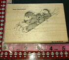 House mouse peppermint sledding BW stampendous118 woodenrubberstamp