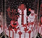 6 mid century red and white Santa clause and reindeer 12 ounce glass tumblers