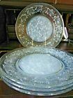 4 Princess House FANTASIA Dinner Plates Frosted Glass Exc Cond
