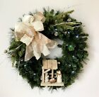 NATIVITY CHRISTMAS WREATH LIGHTED EVERGREEN HOLIDAY WOODEN MANGER RELIGIOUS GIFT