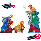 3 Piece Lighted Outdoor Mosaic Nativity Christmas Scene Holiday Home Decoration
