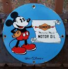 VINTAGE 1933 SUNOCO MICKEY MOUSE PORCELAIN SIGN DISNEY MERCURY OIL GAS PUMP NOS