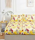 DaDa Bedding Bright Sunshine Yellow Hummingbirds Floral Garden Fitted Bed Sheet