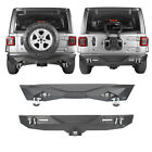 Fit 2018-2019 Jeep Wrangler JL Rear Bumpers w/ LED Floodlights & Hitch Receiver